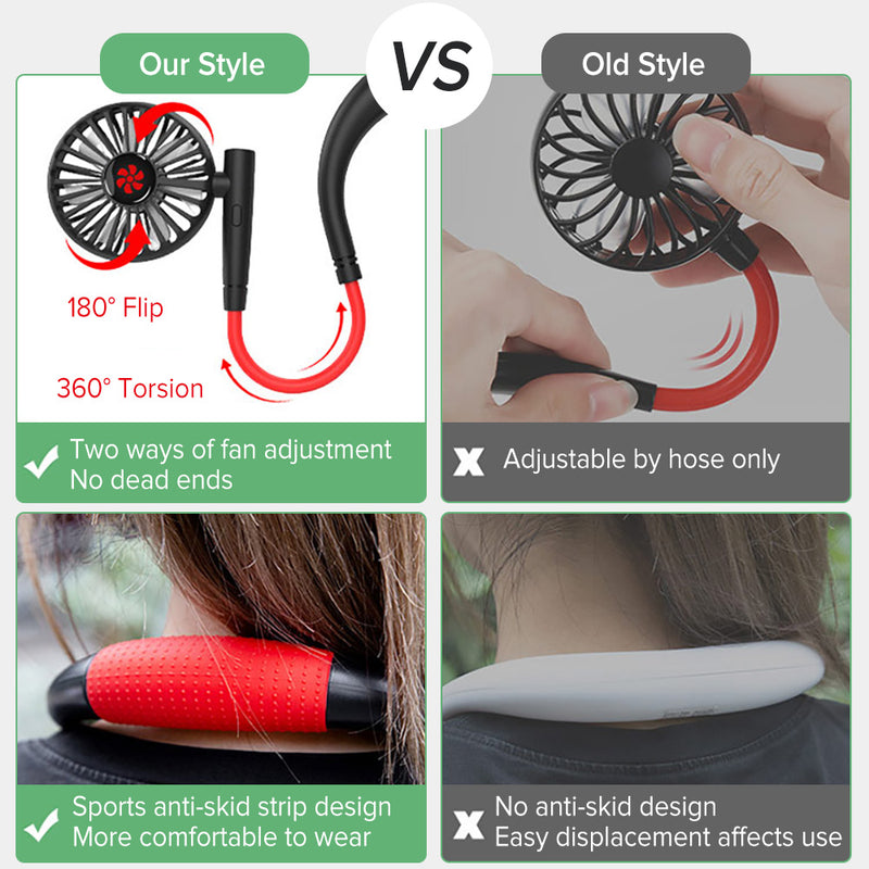 Fan Mini Air Cooler Conditioner USB Rechargeable Fans Room Ventilator Mini Neck Fan - honeylives