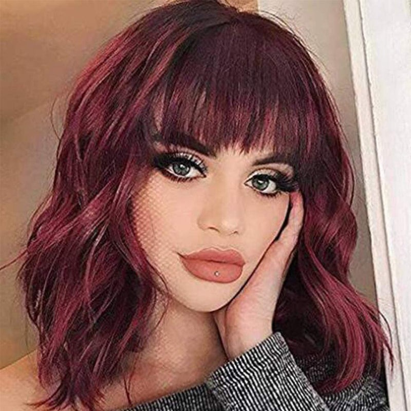 Wig with Bags Short Wavy for Women Synthetic Wig Daily Party Cosplay