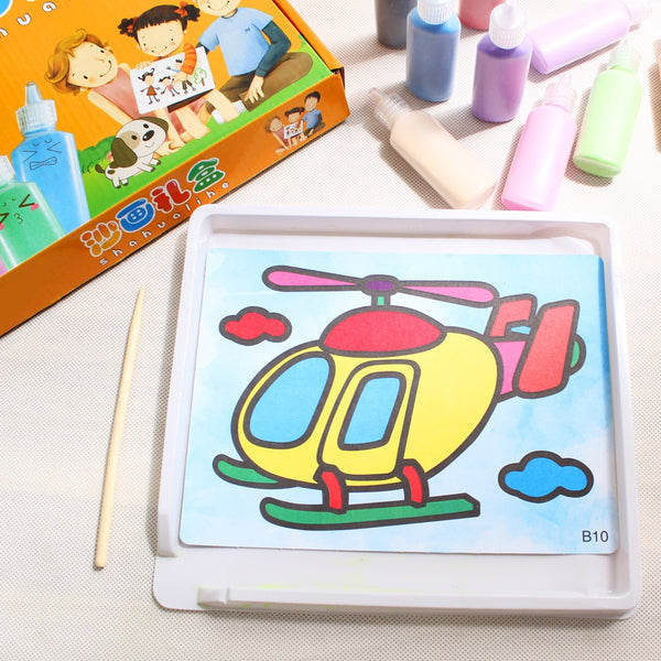 Kids Toys Sand Painting Drawing Coloring DIY Crafts Learning Education Art Cards - honeylives