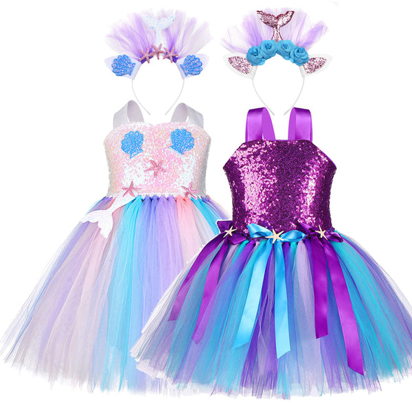 Sequin Princess Ariel Dress Girls Birthday Party Mermaid  Shell Starfish Dresses - honeylives