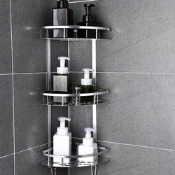 Bathroom Kitchen Storage Shelf Space Aluminum Shower Caddy Sheves Basket