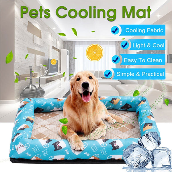 Summer Cooling Pet Dog Mat Ice Pad Sleeping Mats Top Quality Cool Silk Bed - honeylives