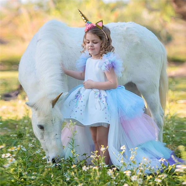 Summer Girls Unicorn Dress with Headband Birthday Party Rainbow Ball Gown 4-10T - honeylives