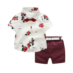 Toddler Baby Boy Gentleman Suit Rose Bow Tie T-Shirt Shorts Pants Outfit Set - honeylives