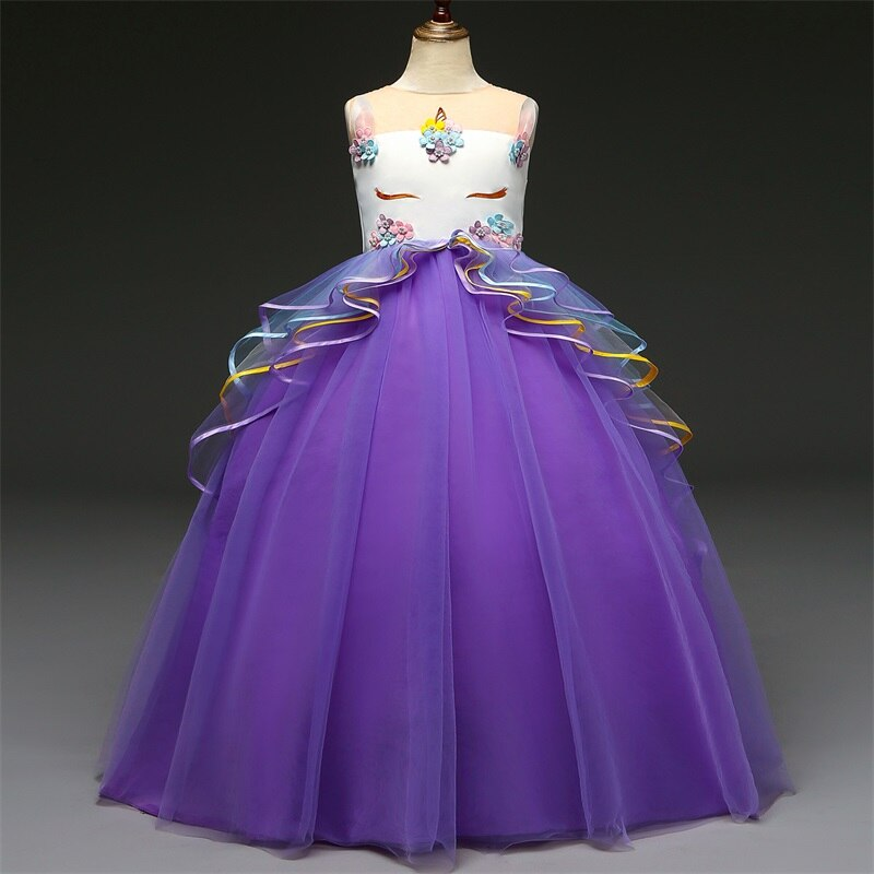 Unicorn Flower Girl Dress Wedding Party Rainbow Tutu Gown Birthday Dresses - honeylives
