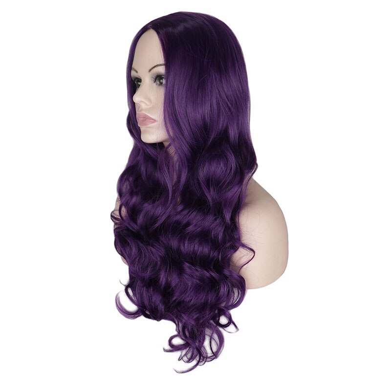 Lady Wig Long Body Wave Wigs Natural Middle Part Heat Resistant Hair Synthetic