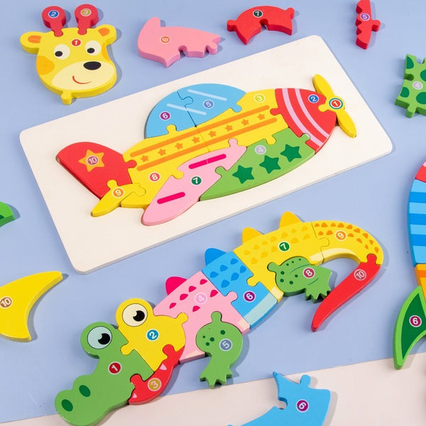 Baby 3D Puzzle Stereo Intelligence Wooden Early Childhood Educational Toys - honeylives