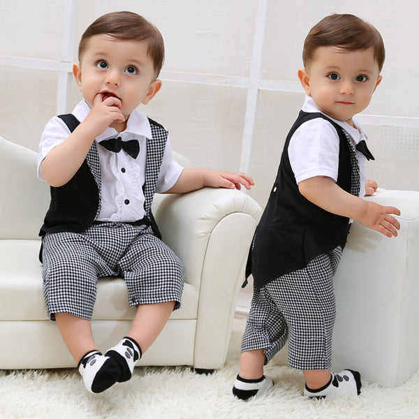 Toddler Baby Boys Gentleman Bowtie Plaid Jumpsuit Outfits - honeylives