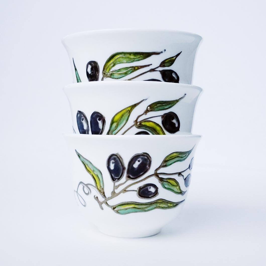 Hand-Painted Palestinian Olive Branch Coffee Cups