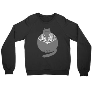 Palestinian Catfiyyeh Crewneck Sweatshirt (Grey Cat)