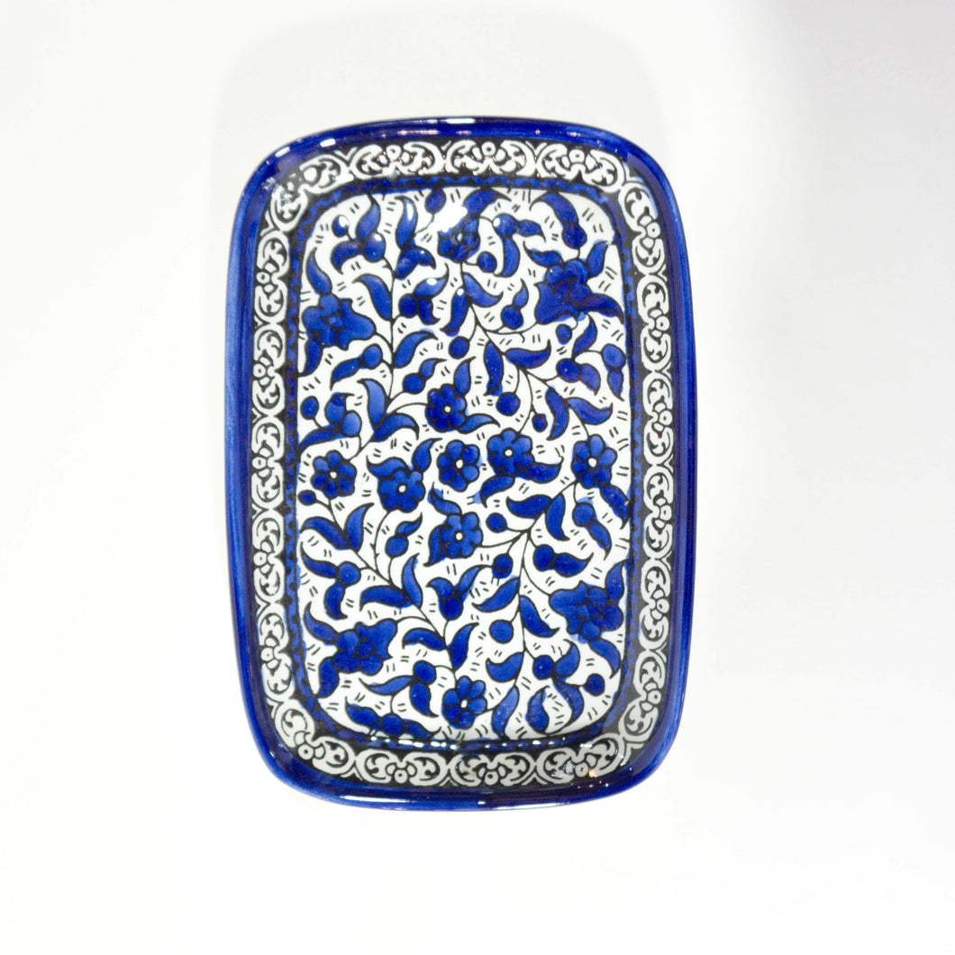 Hand-Painted Khalili Ceramic Rounded Rectangle Plate
