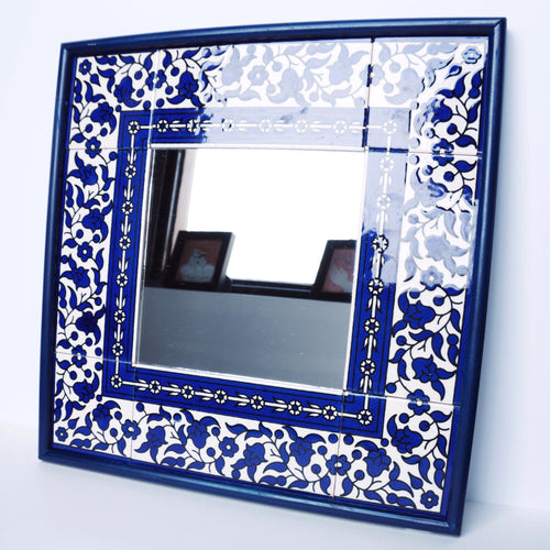 Hand-Painted Khalili Ceramic Tile Square Mirror (Blue)
