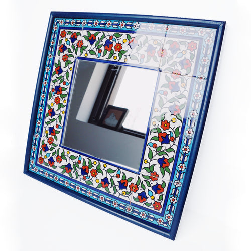 Hand-Painted Khalili Ceramic Tile Square Mirror (Colorful)