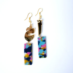 "Gold Mirror ""Akh"" Earrings (Colorful Tortoise)"
