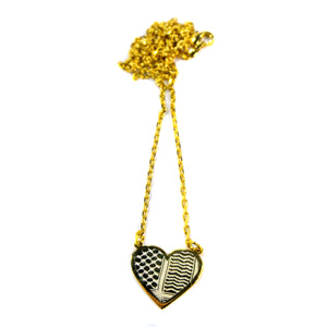 Watan Palestinian Kuffiyeh Heart Necklace (Gold)