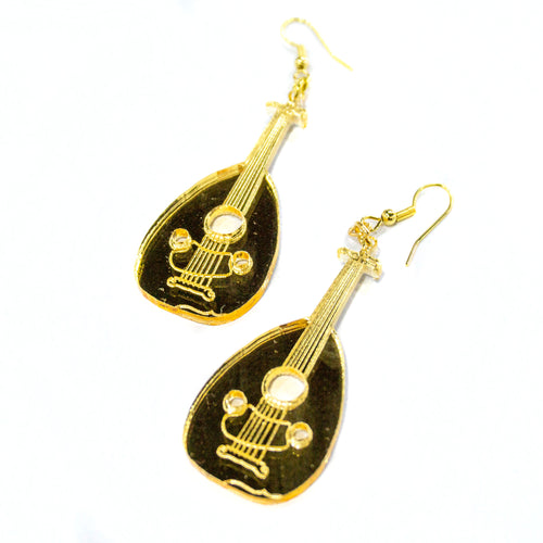 Palestinian Oud Earrings (Gold Mirror)
