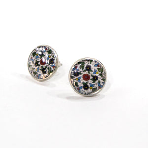 Hebron Ceramic Tile Stud Earrings (Silver)
