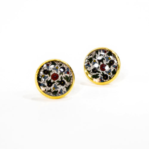 Hebron Ceramic Tile Stud Earrings (Gold)