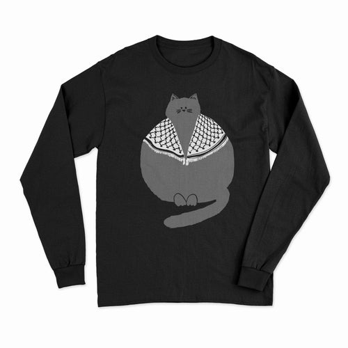Long Sleeve Palestinian Catfiyyeh Shirt (Grey Cat)