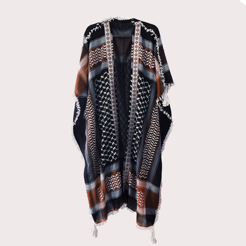 Black & Camel Brown Kuffiyeh Bisht