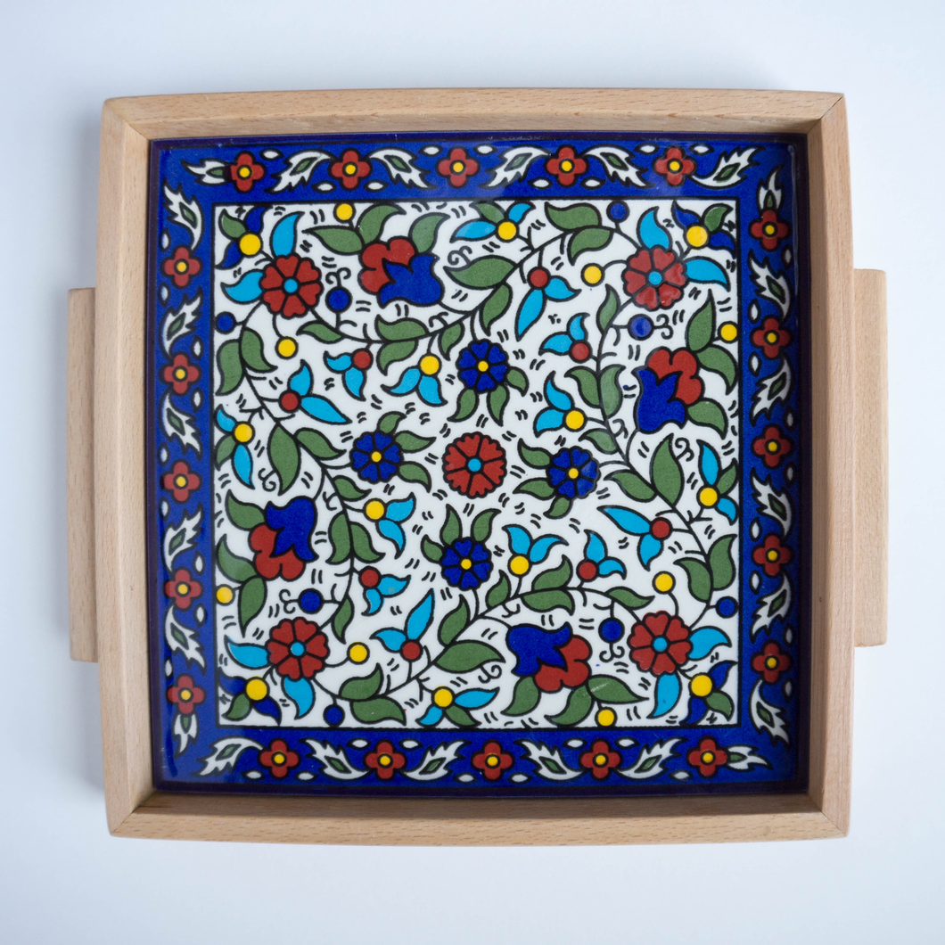 Hand-Painted Khalili Ceramic & Wood Tray (Colorful)