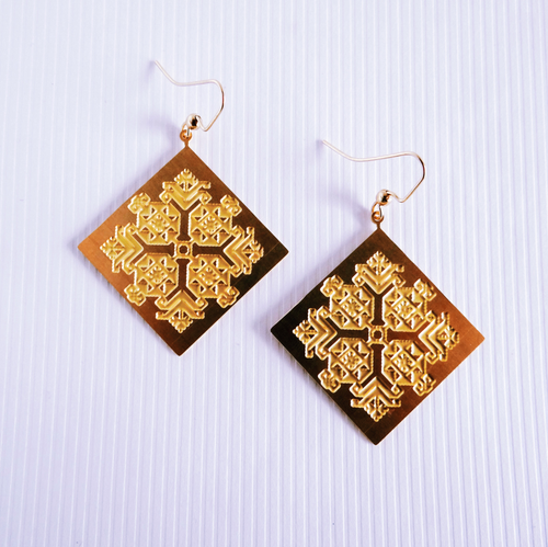 Palestinian Engraved Tatreez Earrings (Brass)