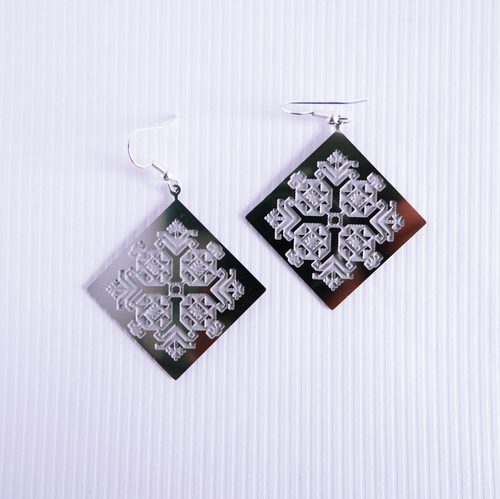 Palestinian Engraved Tatreez Earrings (Stainless Steel)