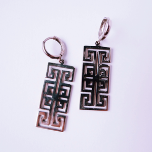 "Palestinian ""Road of Egypt"" Tatreez Earrings (Silver)"