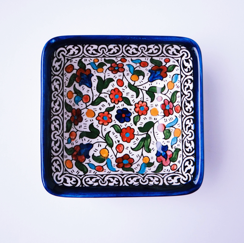 Hand-Painted Khalili Shallow Square Ceramic Bowl