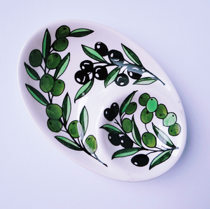 Hand-Painted Khalili Olive Branch Ceramic Split Plate