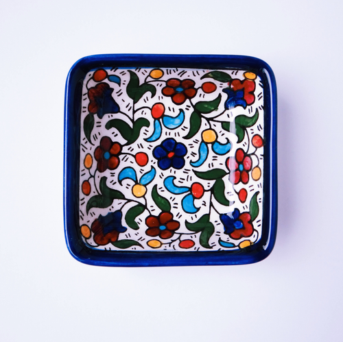 Hand-Painted Khalili Small Deep Square Ceramic Bowl