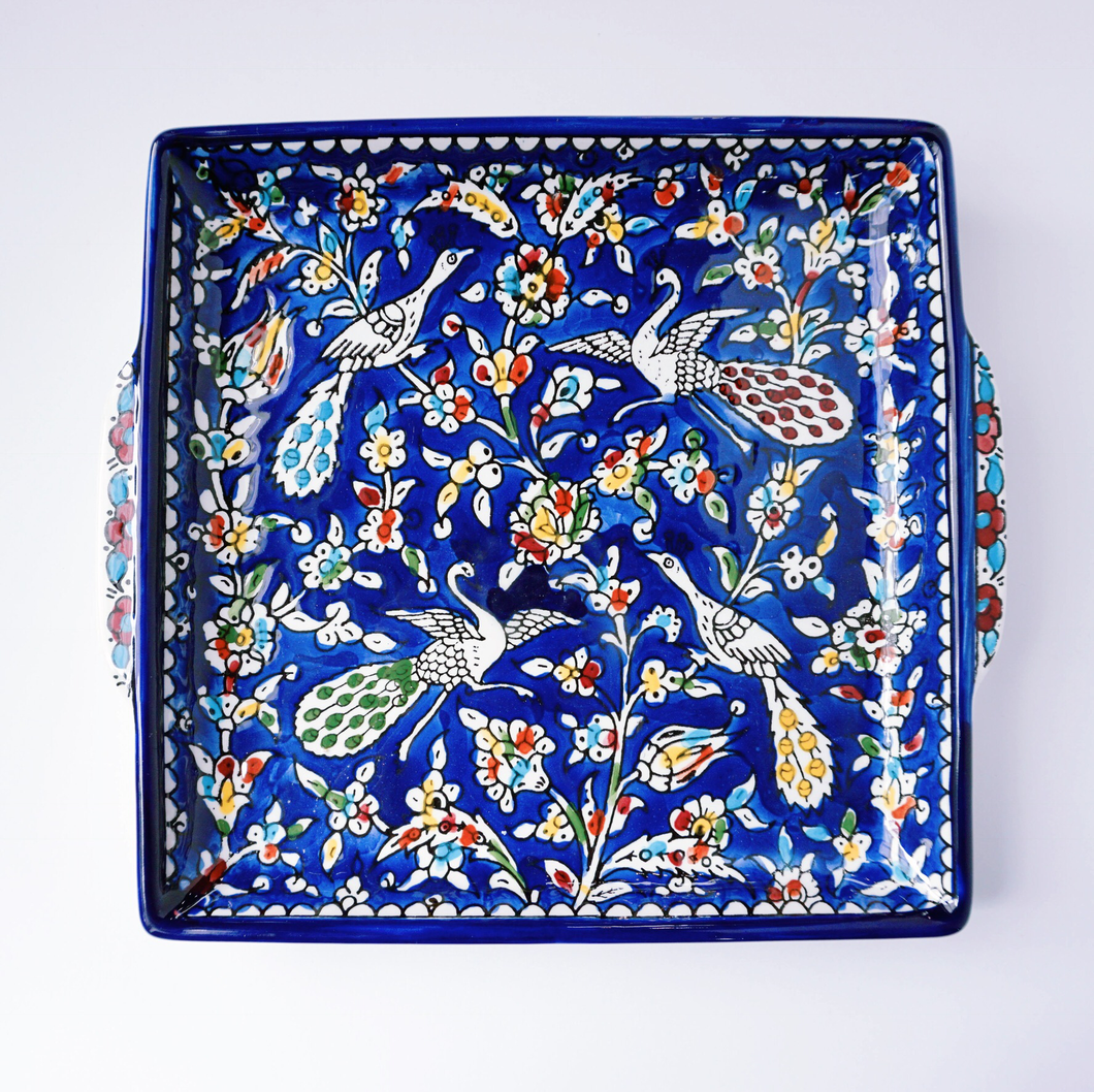 Hand-Painted Khalili Ceramic Peacock Tray