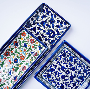 Hand-Painted Khalili Ceramic Large Rectangle Plate