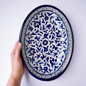 Hand-Painted Khalili Ceramic Large Oval Plate