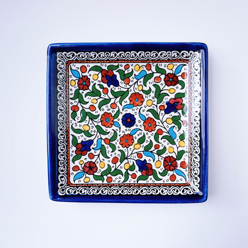 Hand-Painted Khalili Medium Square Ceramic Plate