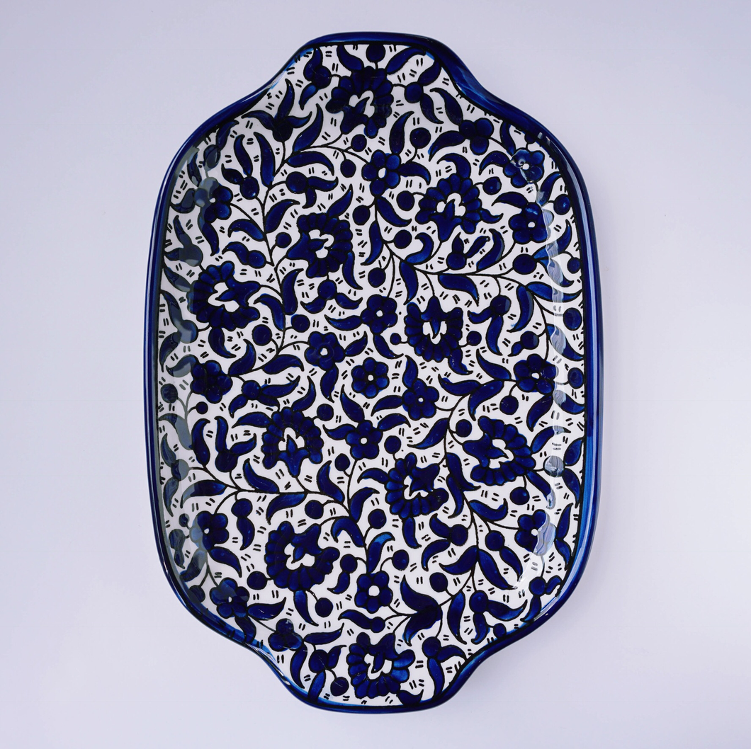 Hand-Painted Khalili Ceramic Flower Serving Tray