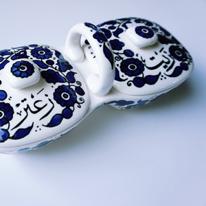 Hand-Painted Khalili Ceramic Zeit and Zaatar Dip Tray