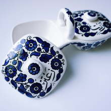 Load image into Gallery viewer, Hand-Painted Khalili Ceramic Zeit and Zaatar Dip Tray
