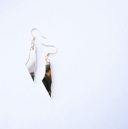 Gold Mirror Palestine Map Earrings