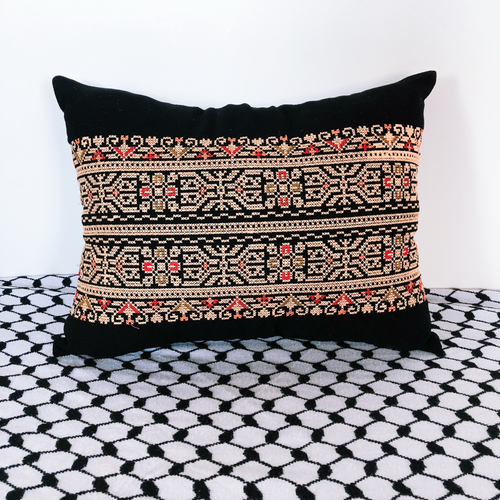 Black & Gold Palestinian Tatreez Pillow