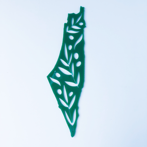 Small Acrylic Olive Branch Palestine Map Wall Art (Green)