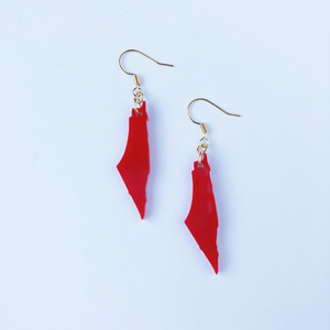 Red Palestine Map Earrings