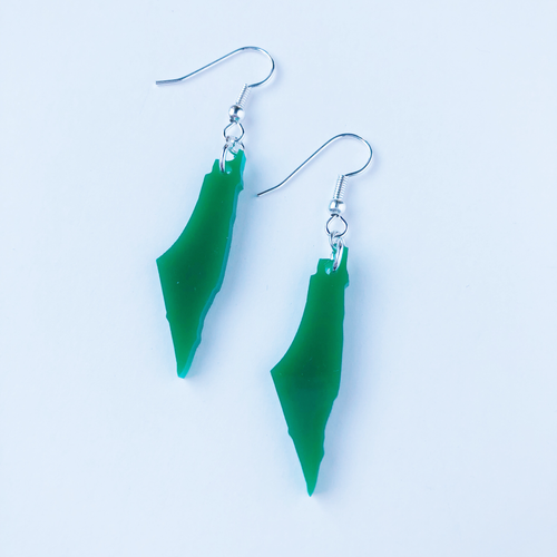 Green Palestine Map Earrings