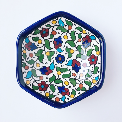 Hand-Painted Khalili Hexagon Ceramic Bowl