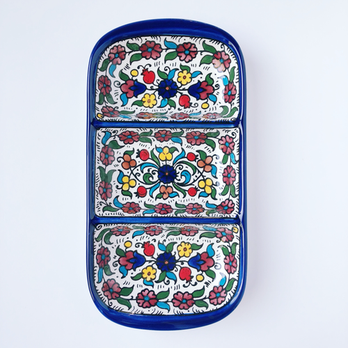 Hand-Painted Khalili Ceramic Three-Split Tray