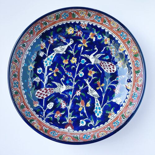 Hand-Painted Khalili Ceramic Large Peacock Bowl