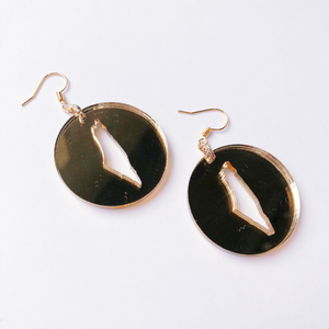 Circle Palestine Map Earrings (Gold)