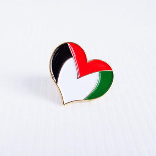 Palestine Flag Heart Pin