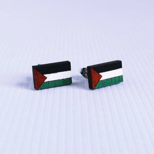 Palestinian Hanging Flag Stud Earrings