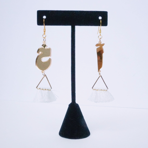 "Gold Mirror ""Akh"" Earrings (White)"
